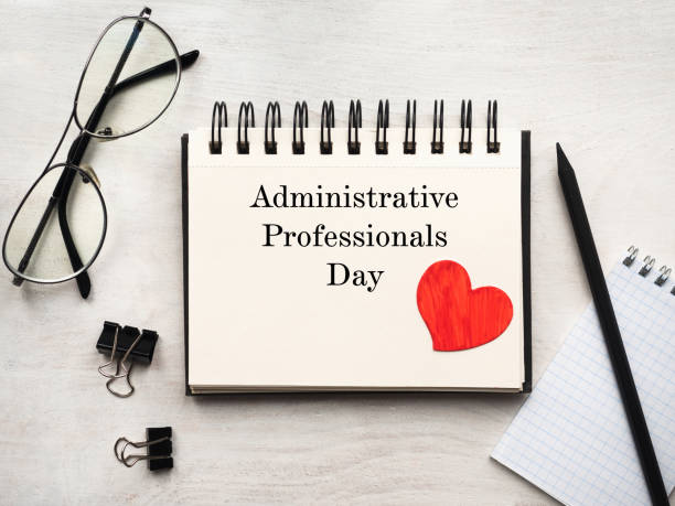 Secretaries Day and Admin Day. Greeting card. Secretaries Day and Admin Day. Greeting card. Close-up, view from above, wooden surface. Concept of preparation for a professional holiday. Congratulations for relatives, friends and colleagues. administrator stock pictures, royalty-free photos & images