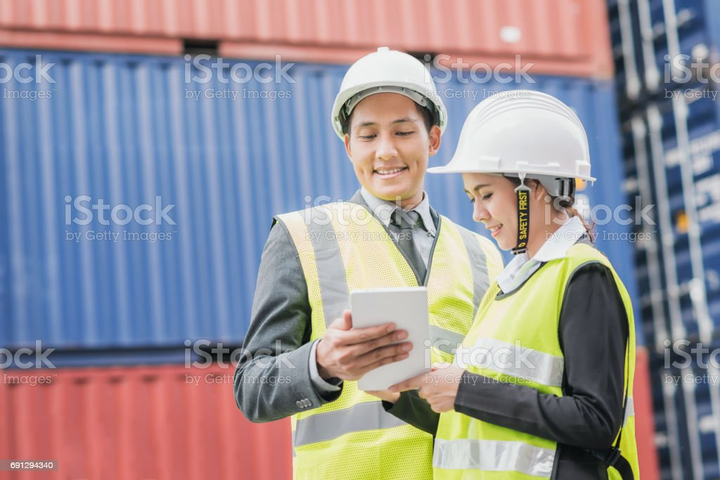 Secretary and businessman in logistic, export, import industry stock photo