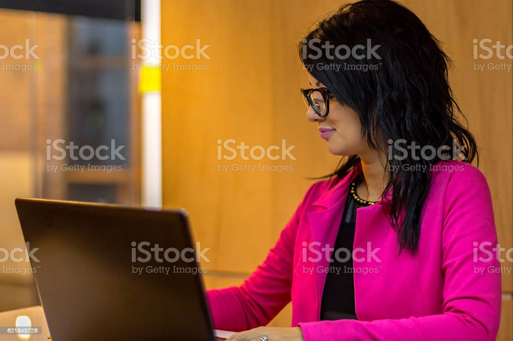 Secretary at her office stock photo