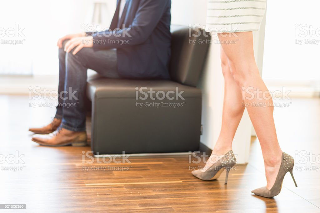 Secretary coming for job candidate waiting stock photo