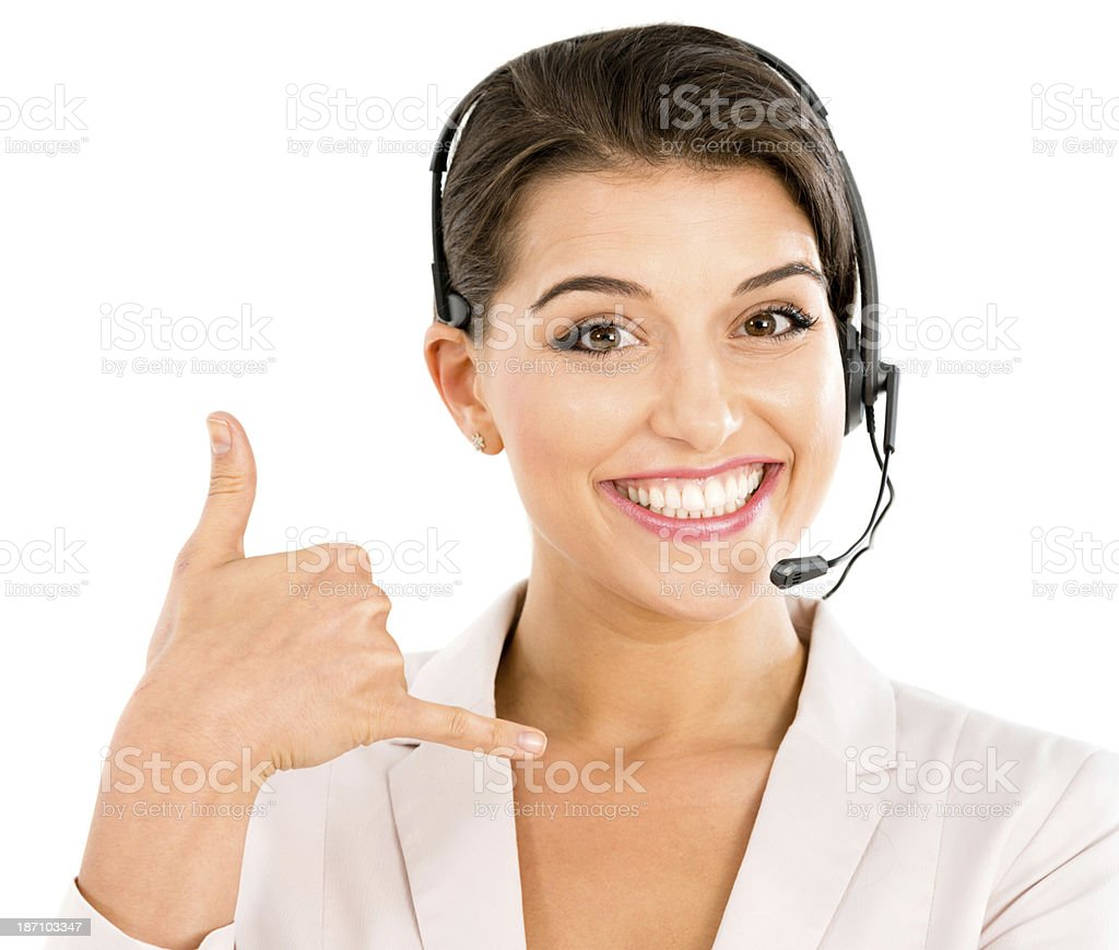 Secretary doing a call me gesture royalty-free stock photo