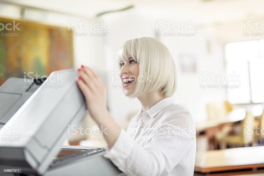 secretary doing paper work stock photo