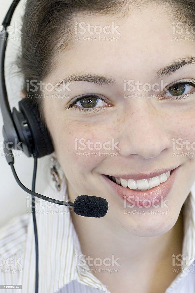 Sekretär auf Kopfhörer Lizenzfreies stock-foto