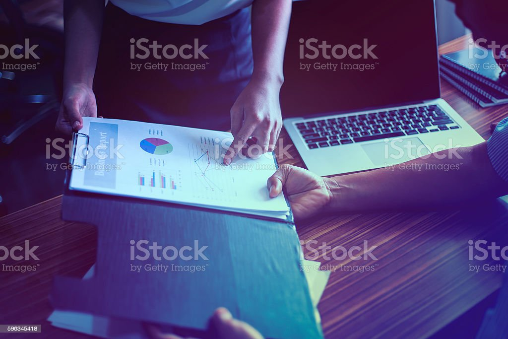 Secretary visual presentation for your boss to sign approval. royalty-free stock photo