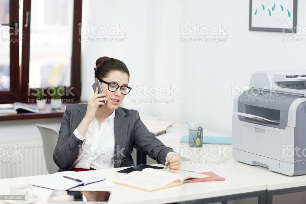 Secretary working stock photo