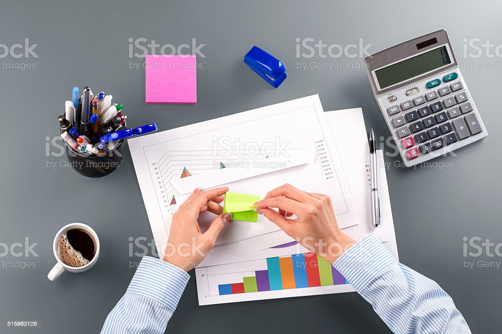 Secretary's bright self-adhesive paper. stock photo