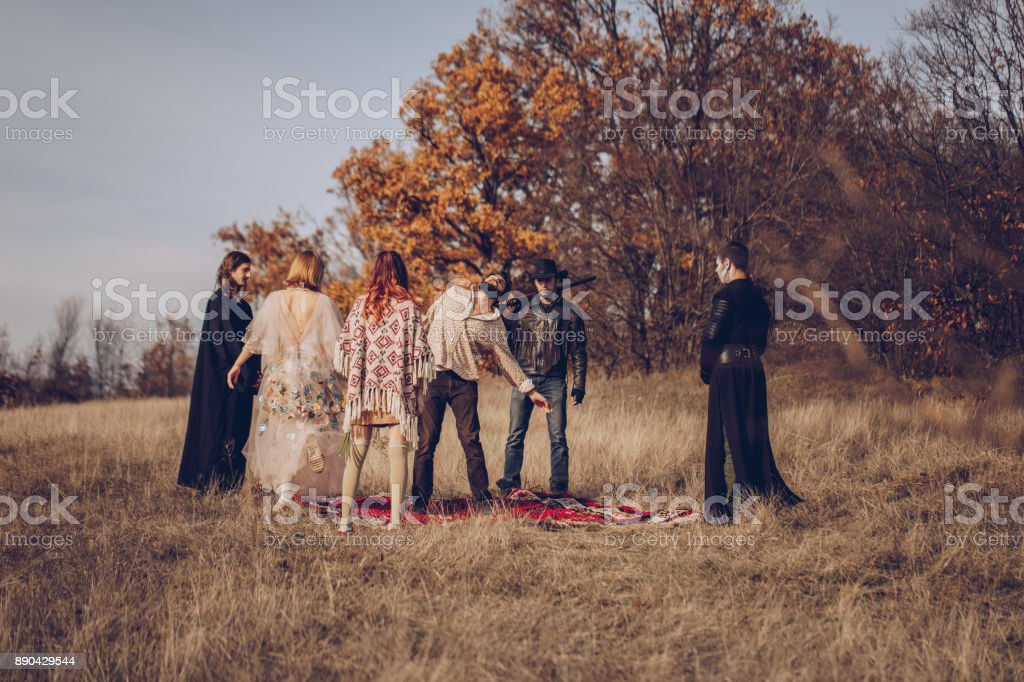 Sect ceremony in nature stock photo
