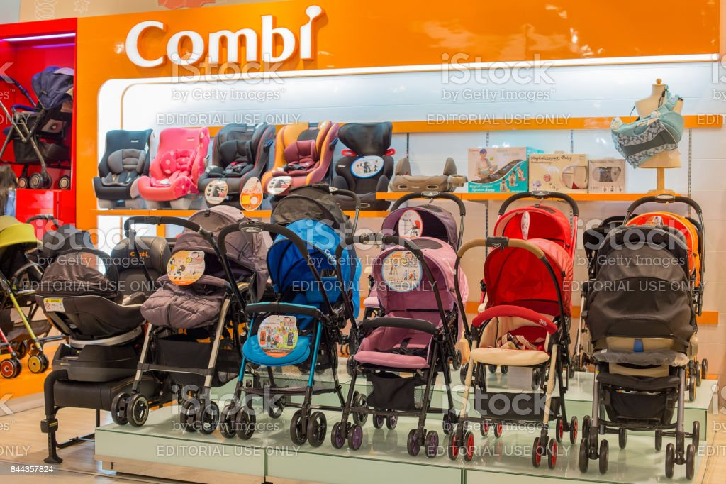 Section of baby carriages Combi in supermarket Siam Paragon. Bangkok, Thailand stock photo