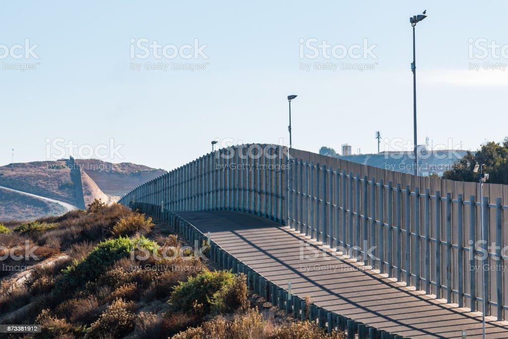 Section of International Border Wall Between San Diego/Tijuana stock photo