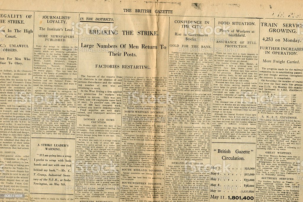Section of The British Gazette 13 May 1926 stock photo
