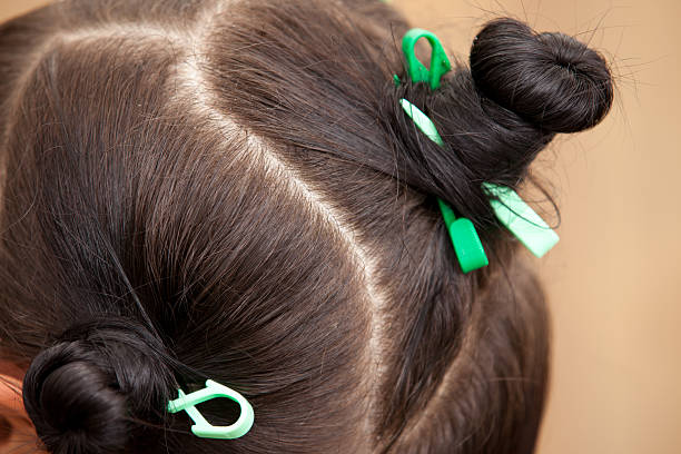 Sectioned hair detail stock photo