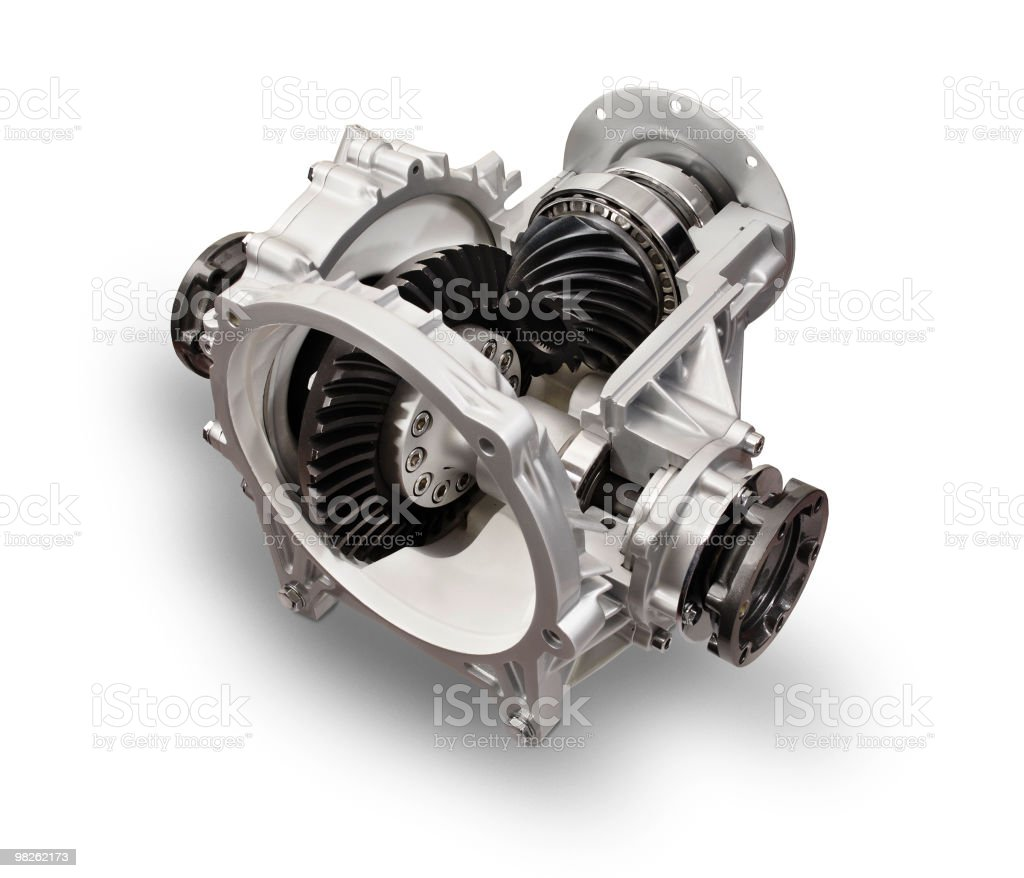 Sectioned part of a truck motor differential on white background royalty-free stock photo