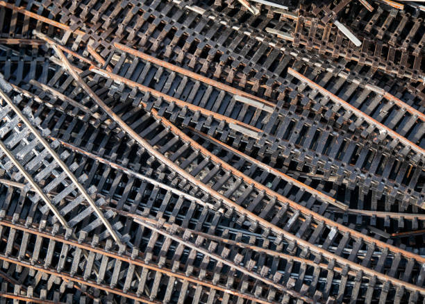 Sections of model railway track for sale on a market stall stock photo