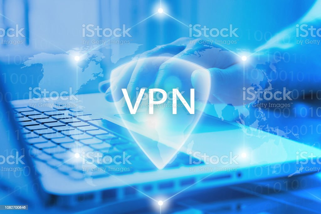 VPN secure access to Internet. Virtual Private network protocol. Cyber security and privacy connection technology. Anonymous access by user to web. stock photo