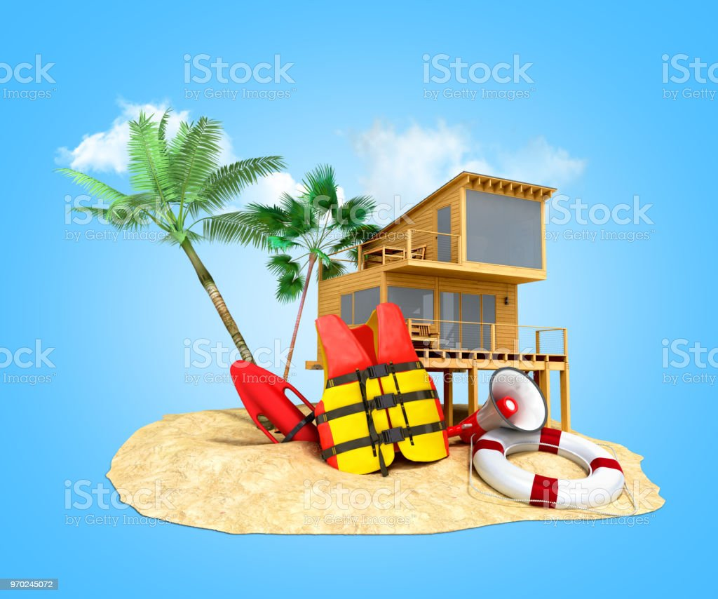 Secure beach concept Life jacket life ring and a horn and other objects on the sand 3render on blue stock photo