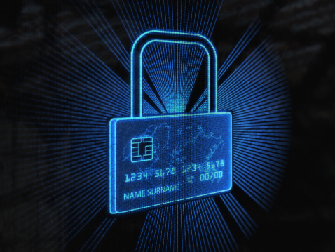 istock Secure credit card (Blue) 155354133