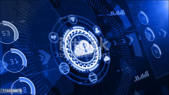istock Secure data network, Digital cloud computing, Cyber security concept 1144238678