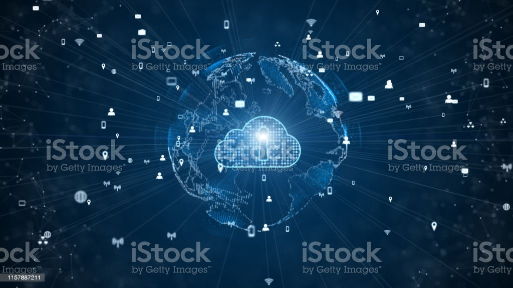 Secure Data Network Digital Cloud Computing Cyber Security Concept. Earth Element Furnished by Nasa Secure Data Network Digital Cloud Computing Cyber Security Concept. Earth Element Furnished by Nasa Abstract Stock Photo
