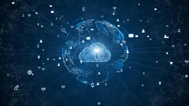 concepto de seguridad cibernética de la informática en la nube digital de la red de datos segura. elemento tierra amueblado por la nasa - nube fotografías e imágenes de stock