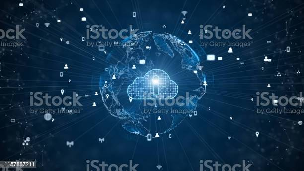 Secure Data Network Digital Cloud Computing Cyber Security Concept Earth Element Furnished By Nasa Stock Photo - Download Image Now