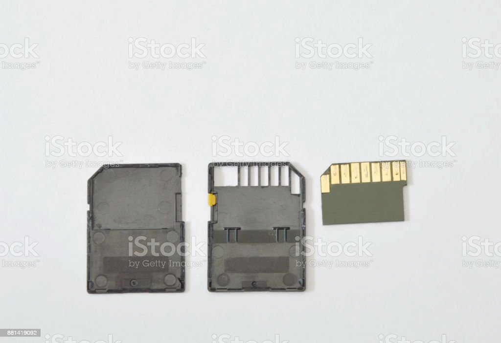 secure digital card separate part on white background stock photo