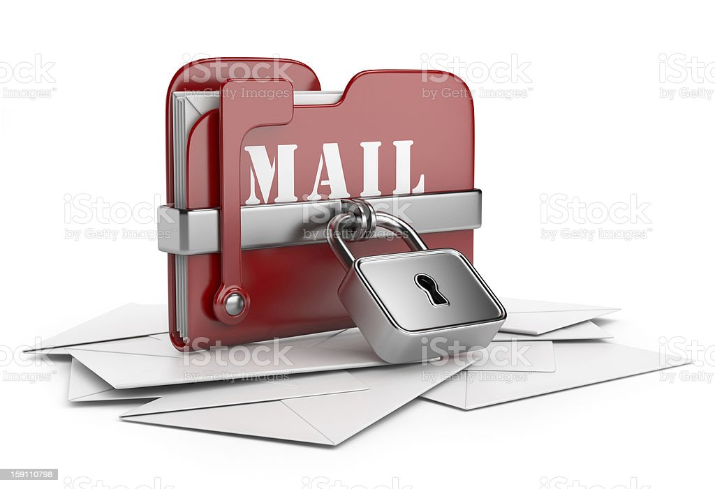 Secure mail data. 3D isolated royalty-free stock photo