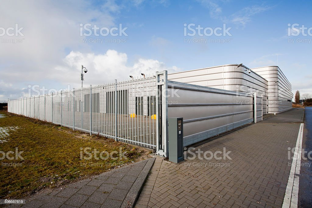 Secure metal industrial building stock photo