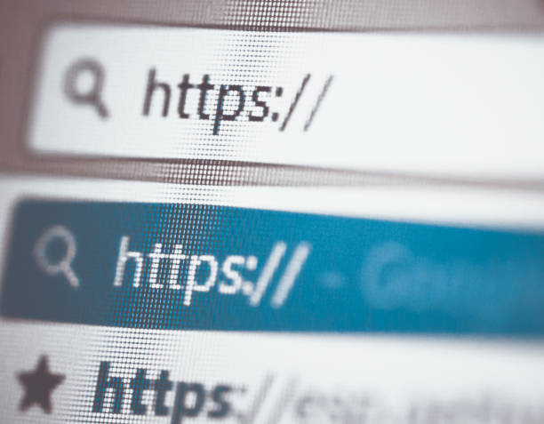 Secure Protocol HTTPS typed into the search bar of a browser. hyperlink stock pictures, royalty-free photos & images