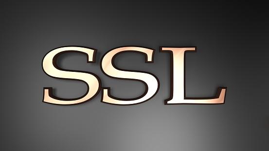 SSL Secure Socket Layer copper on black background - 3D rendering illustration