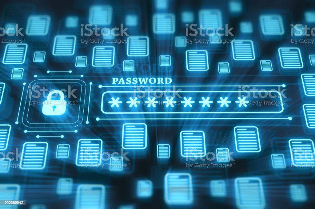 Concepto de sistema de seguridad en pantalla digital - foto de stock