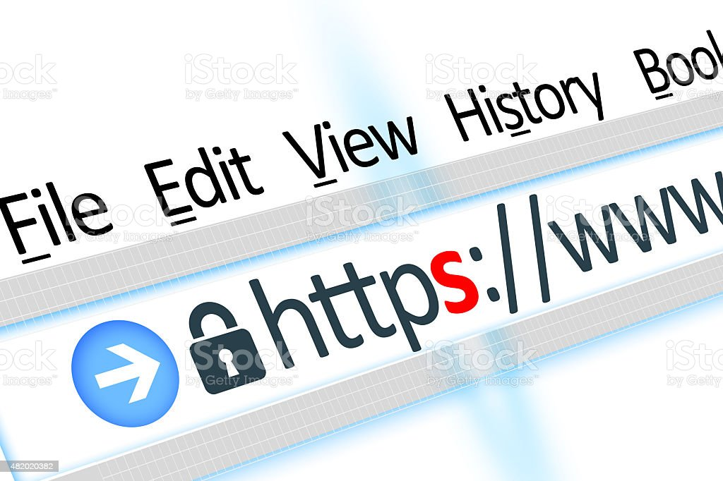Secured connection link web browser detail stock photo