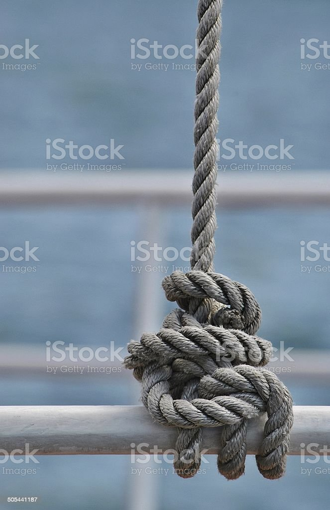 Secured Rope On A Nautical Vessel stock photo