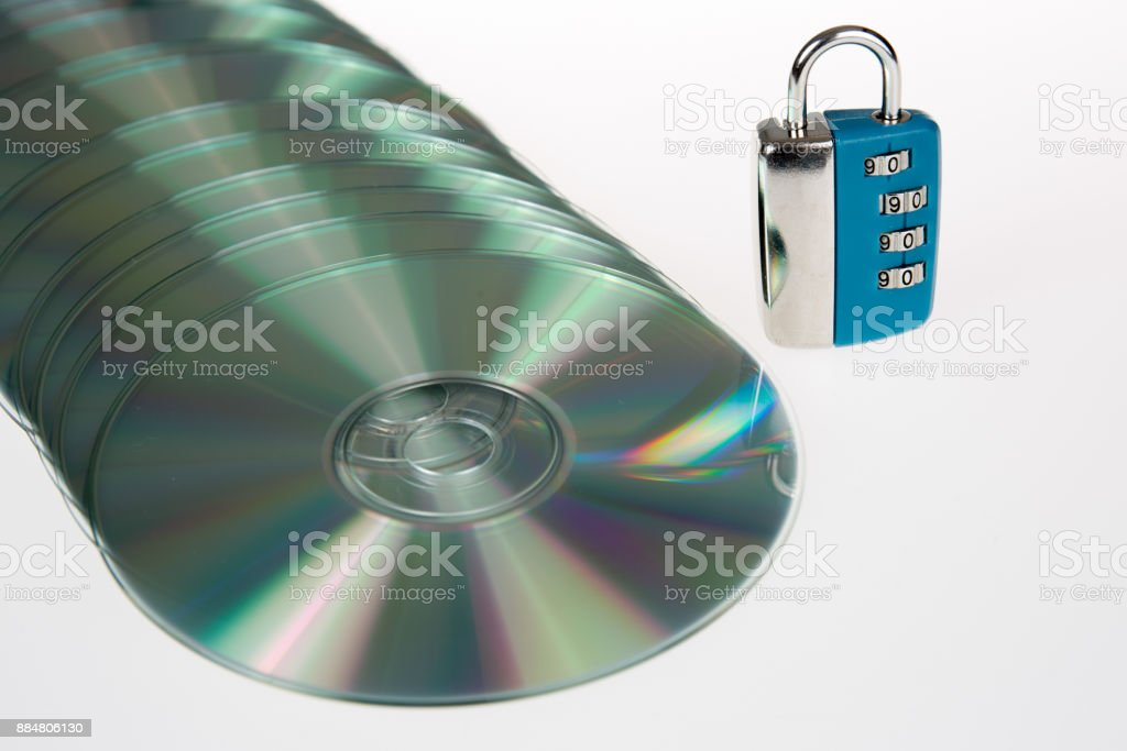 CD / DVD secured. Symbol for delusory data security. stock photo