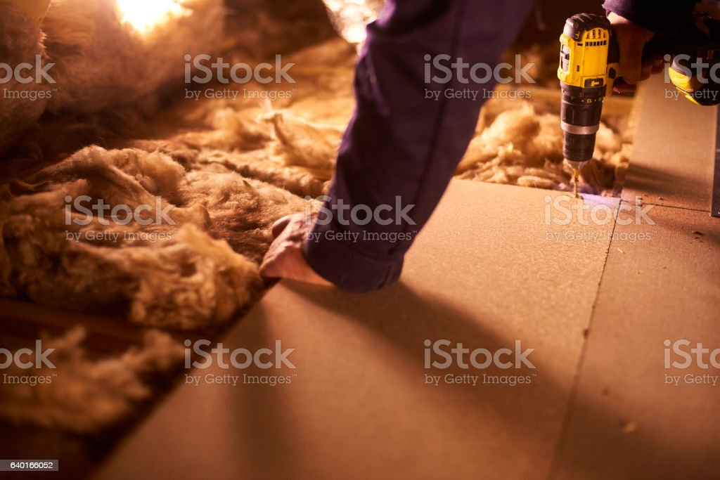 securing attic floor stock photo