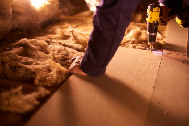 securing attic floor stock photo