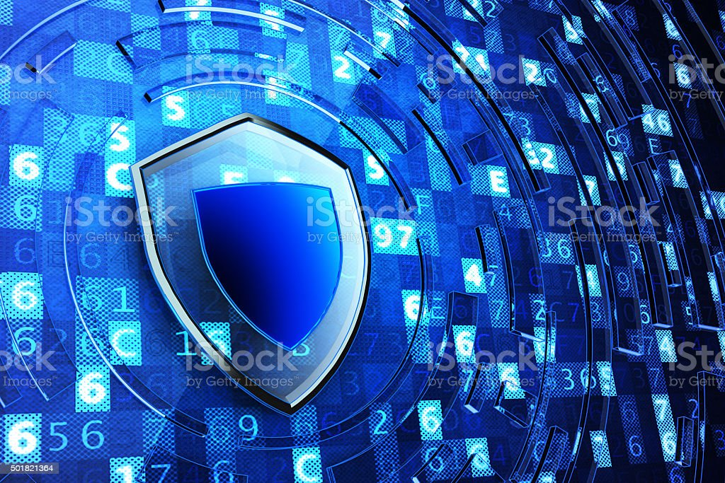 Securing, network firewall, computer data protection and information security concept Shield defense on blue technology background with digital code 2015 Stock Photo