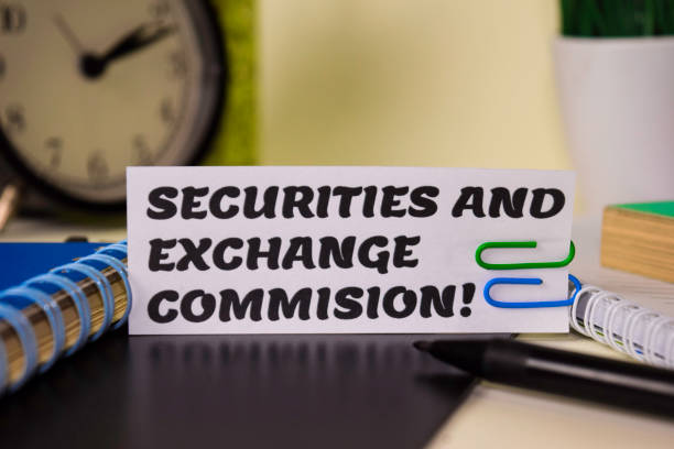 Securities and Exchange Commision! on the paper isolated on it desk. Business and inspiration concept stock photo