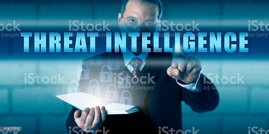 Security Agent Pushing THREAT INTELLIGENCE stock photo