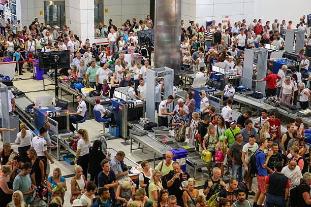 Security and passport control at airport stock photo