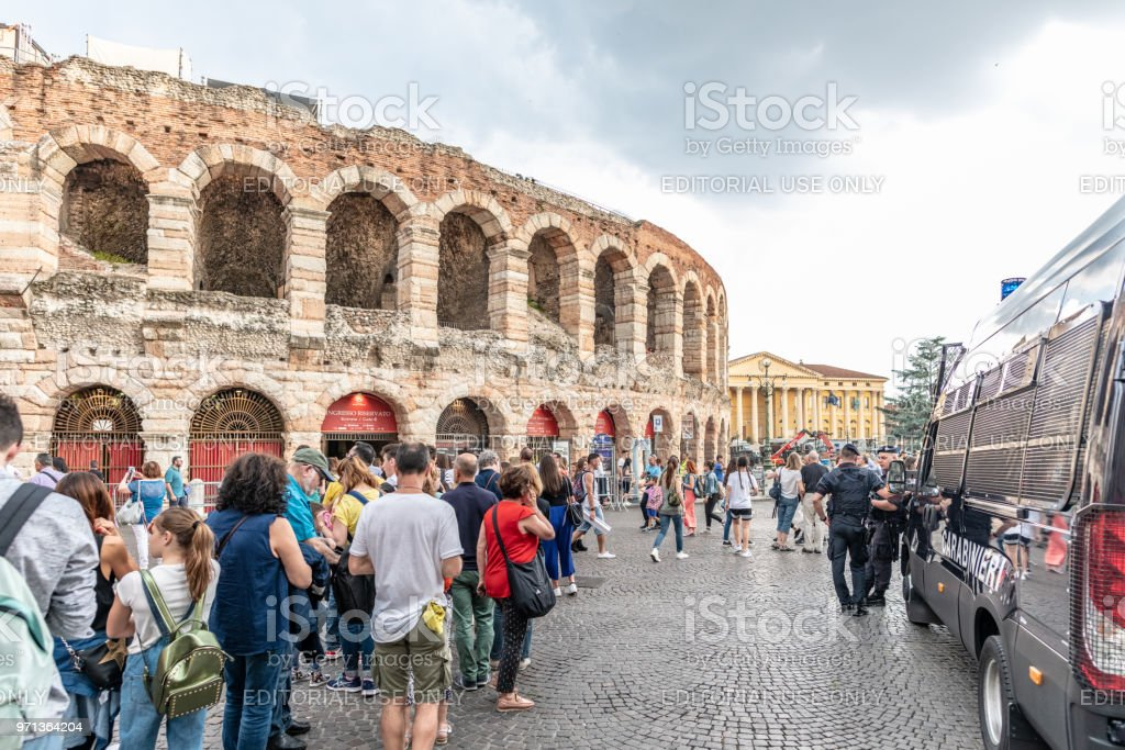 Security at the Arena in Verona, Italy stock photo