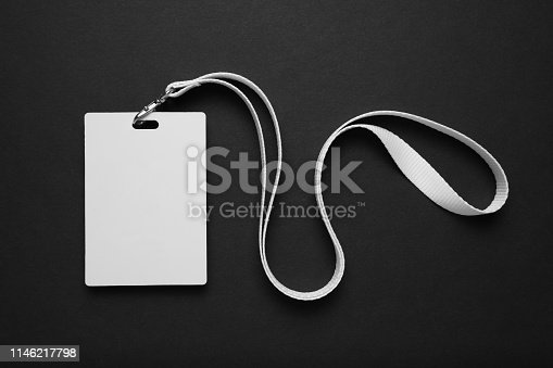 istock Security badge on black background, lanyard plastic clip, template 1146217798