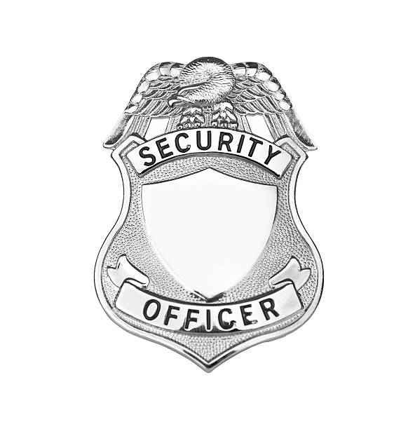 Security Badge Security badge in silver. Clipping Path included on biggest size security pass stock pictures, royalty-free photos & images