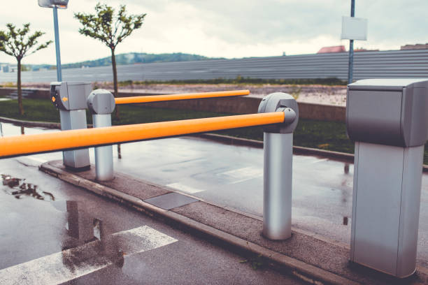 Security Barrier at parking entrance City Street, Road, Street, Security Barrier, Boundary, security barrier stock pictures, royalty-free photos & images