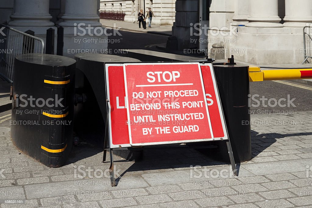 Security barrier in Whitehall royalty-free stock photo