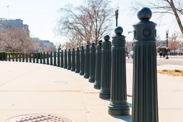 Security barrier outside Supreme Court of the United States stock photo