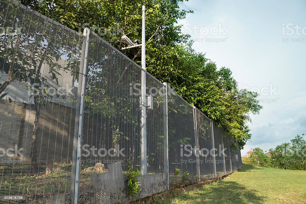 Security Boundary Fencing At Residential Community Stock
