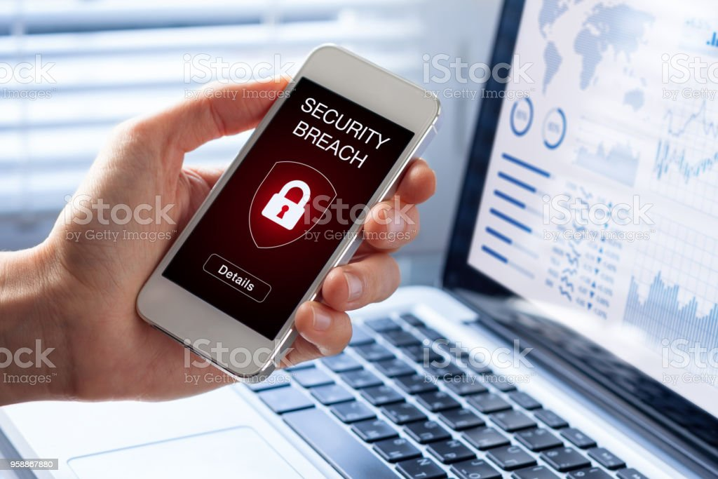Security breach, smartphone screen, infected by internet virus, cyberattack hacking stock photo