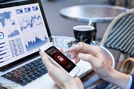 1008108222 istock photo Security breach warning, smartphone screen, public wifi hotspot internet, virus 959875160