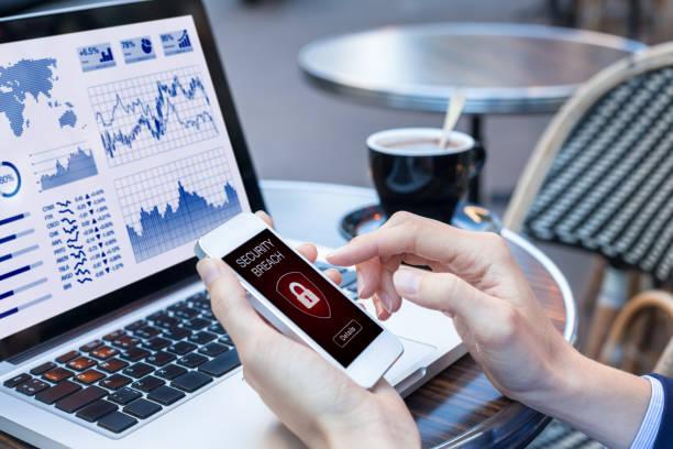 Security breach warning, smartphone screen, public wifi hotspot internet, virus stock photo