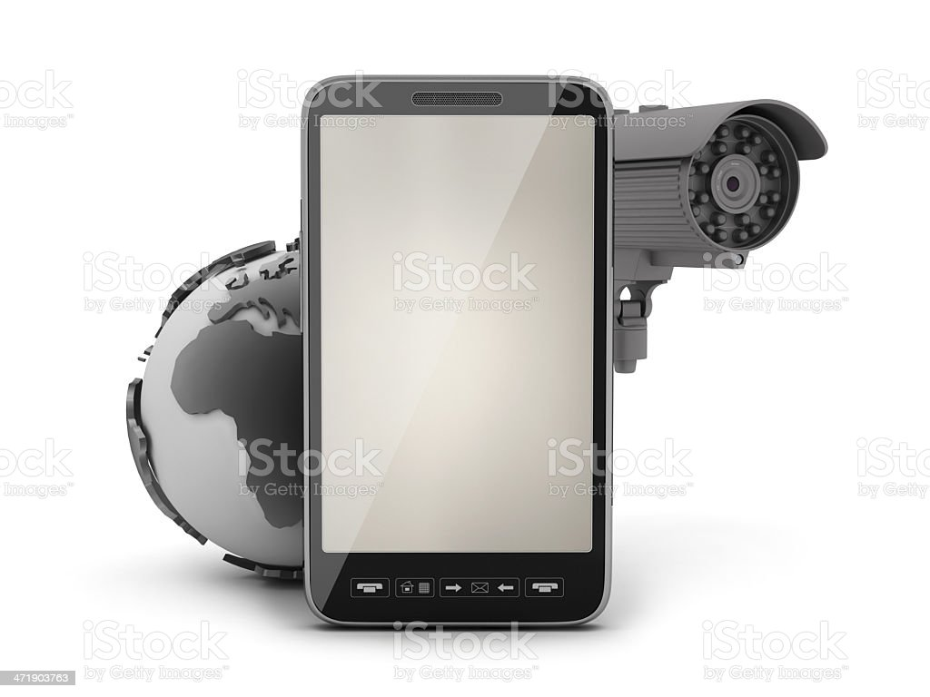 Security cam, earth globe and cell phone royalty-free stock photo